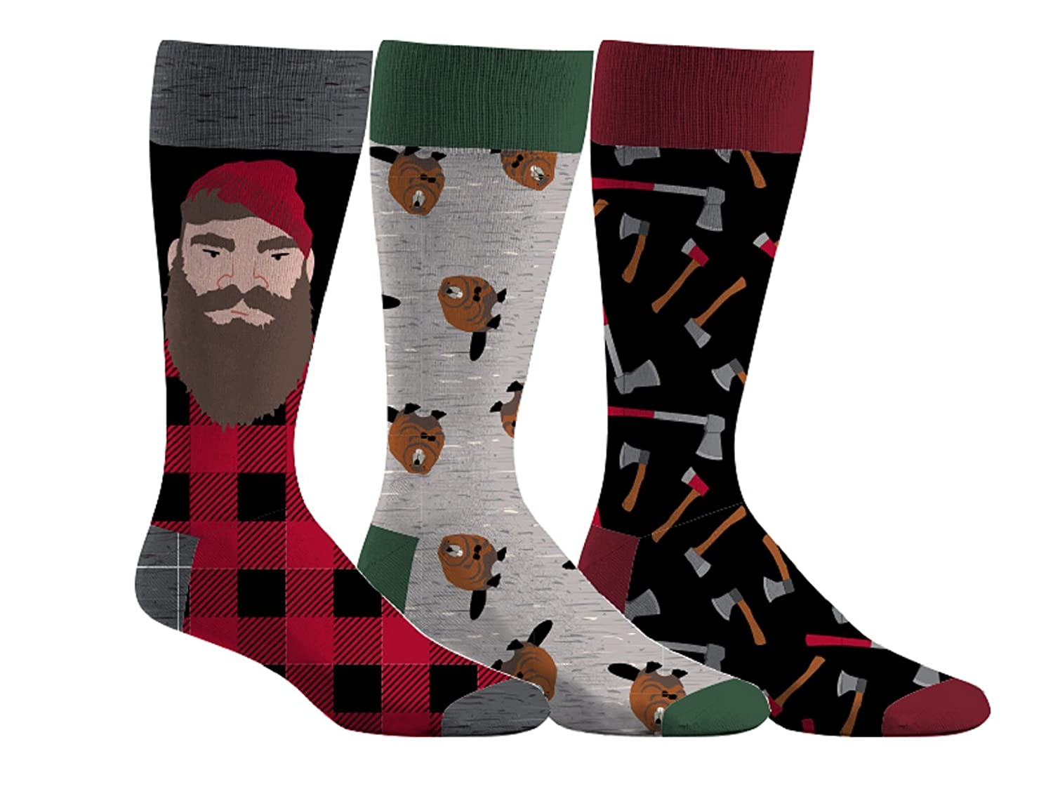 Men's Lumberjack & Beaver 3-Pack Dress Socks