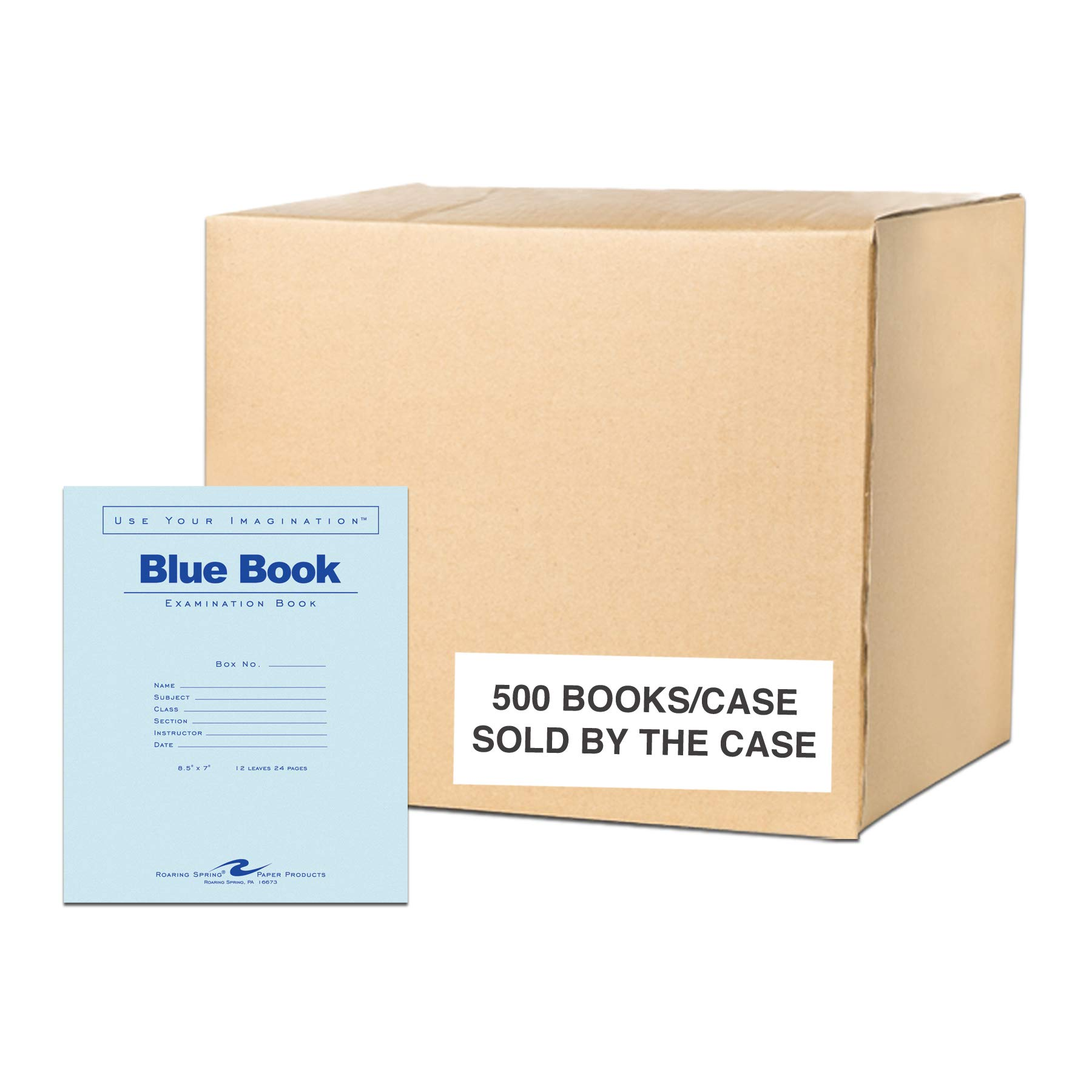 Case of 500 Exam Books, 8.5''x7'', 12 sheets/24 pages of 15# Smooth White Paper, Wide Ruled W/ Margin, Heavy Blue Cover, Stapled