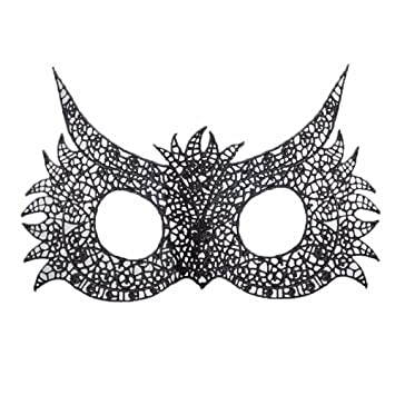 T-KMMK Mask Máscara Encaje Día de los niños Masquerade Sexy Black Lace Mask Headpiece