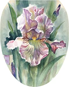 Toilet Tattoos, Toilet Seat Cover Decal, Watercolor Iris, Size Elongated