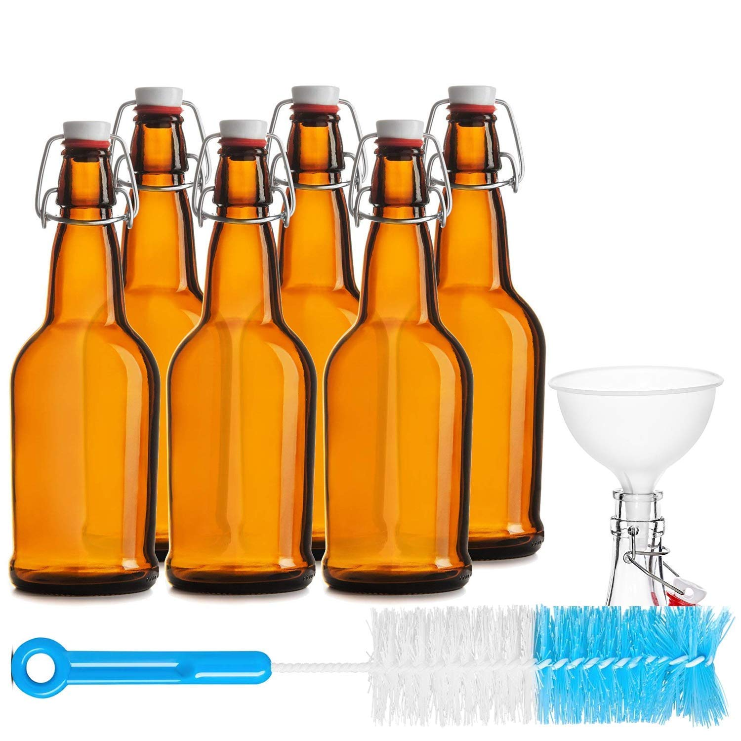 Chefs Star CASE OF 6-16 oz. EASY CAP Beer Bottles with Funnel and Cleaning Brush - AMBER
