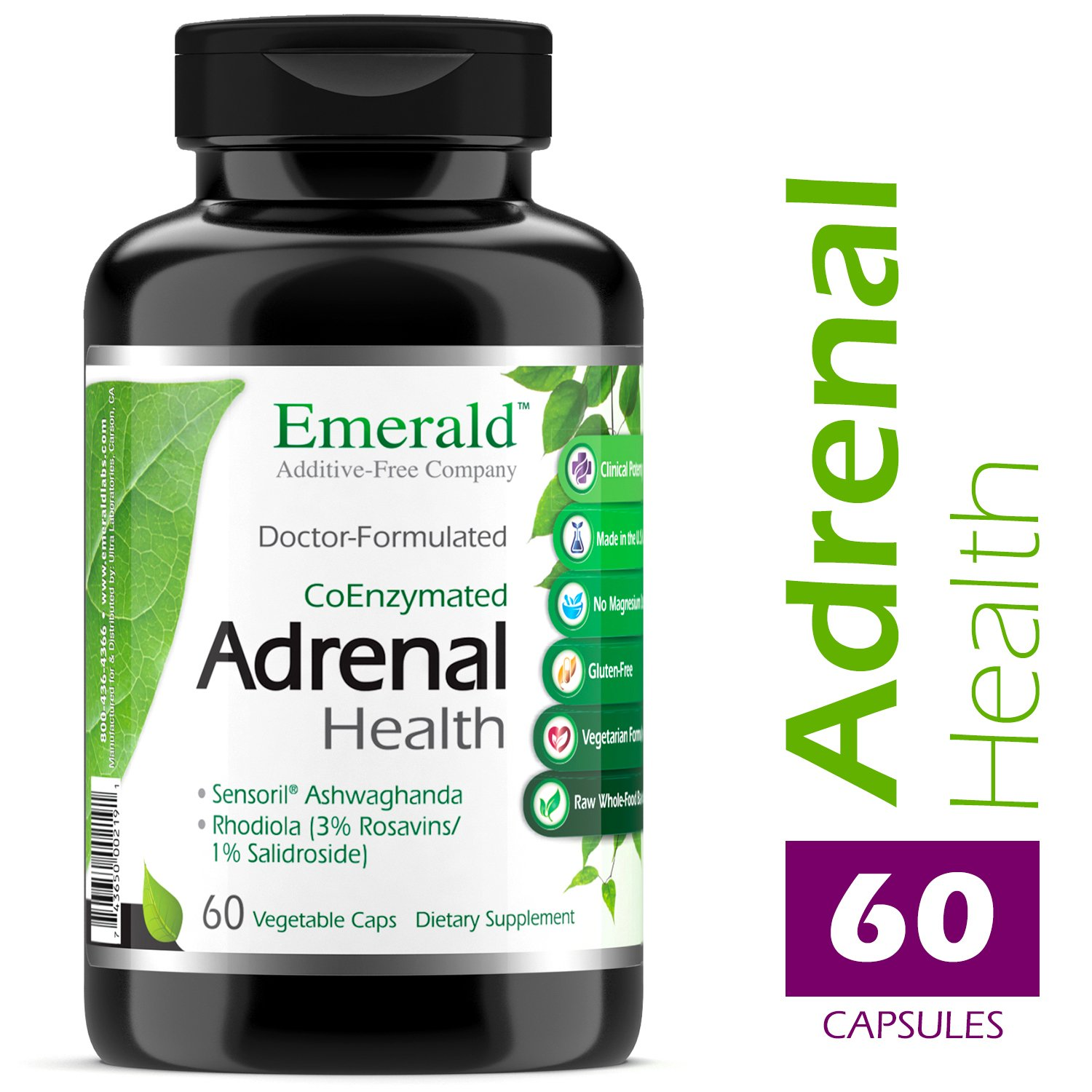 Adrenal Health - with Sensoril Ashwagandha for Improved Energy Levels, Sleep Support, Stress Relief, Promotes Mental Clarity - Emerald Laboratories - 60 Vegetable Capsules