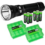 Fenix TK41C tri-color 1000 Lumen LED Flashlight (white/red/blue) with 8 X EdisonBright AA Alkaline Batteries and 2 X EdisonBright battery carry cases bundle