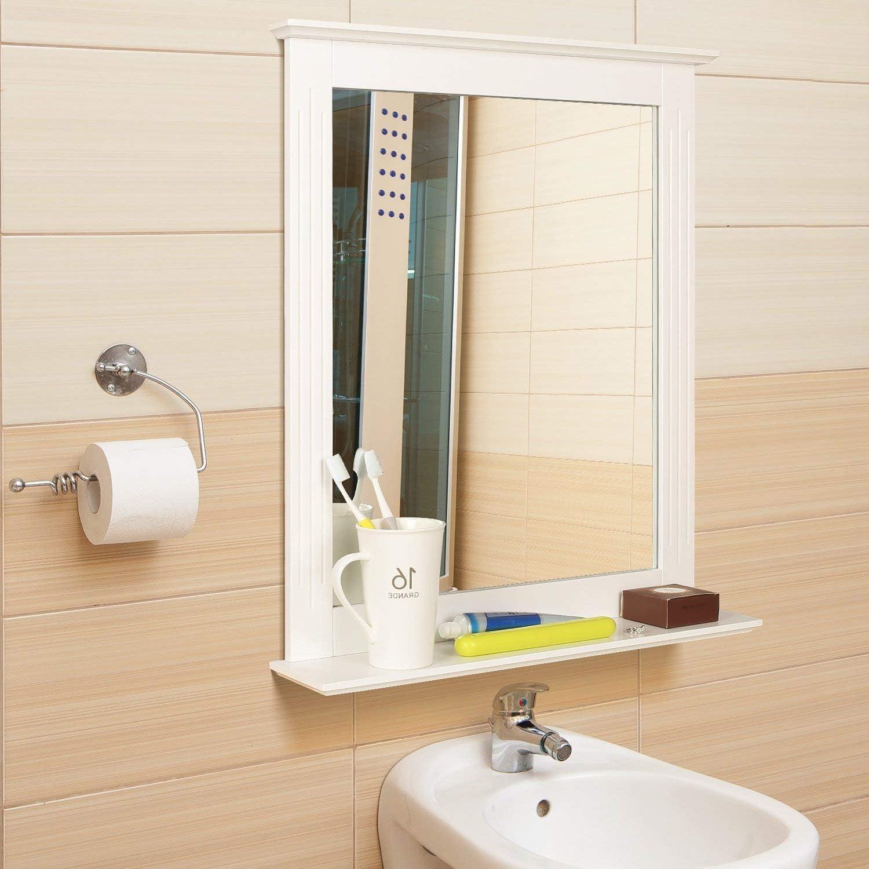 Homfa Specchio da Bagno Specchio Arredobagno con Cornice 57 x 68 cm