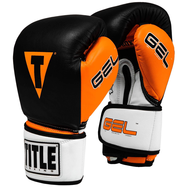タイトルジェルIntense v2tバッグ手袋 ブラック/オレンジ 12 oz
