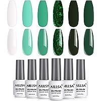 AILLSA gel nagellak set, 6 * 8ml wit groen donker UV gel nagellak set zonder UV-lamp glitter kleur gel voor dames