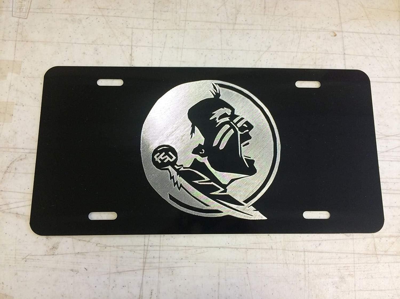 Chik yx FSU Seminoles Logo Car Tag on Black Aluminum License Plate