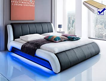 Polsterbett Schwarz Bett 140x200 Lattenrost Matratze Led