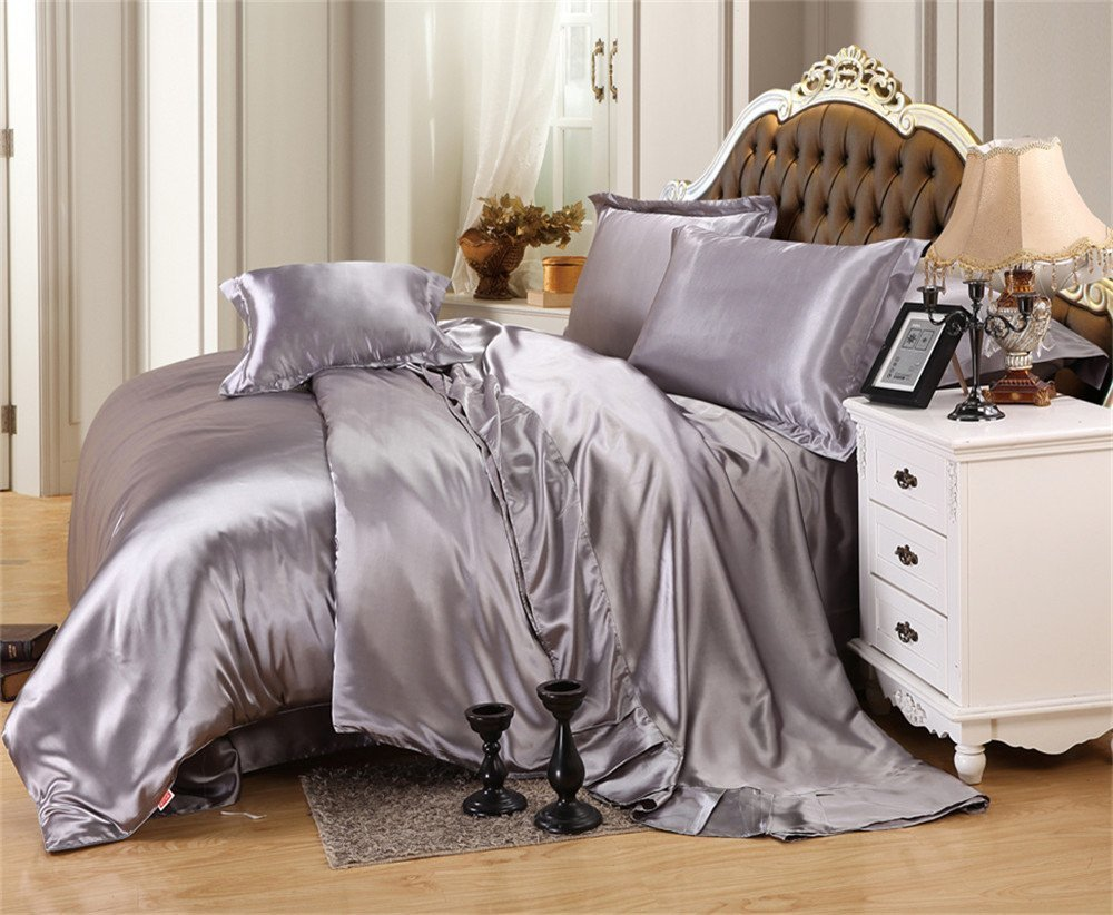 MoonLight Bedding Luxurious Ultra Soft Silky Satin 7-Piece Bed Sheet Set with Duvet Cover Set Cal-King, Silver Grey