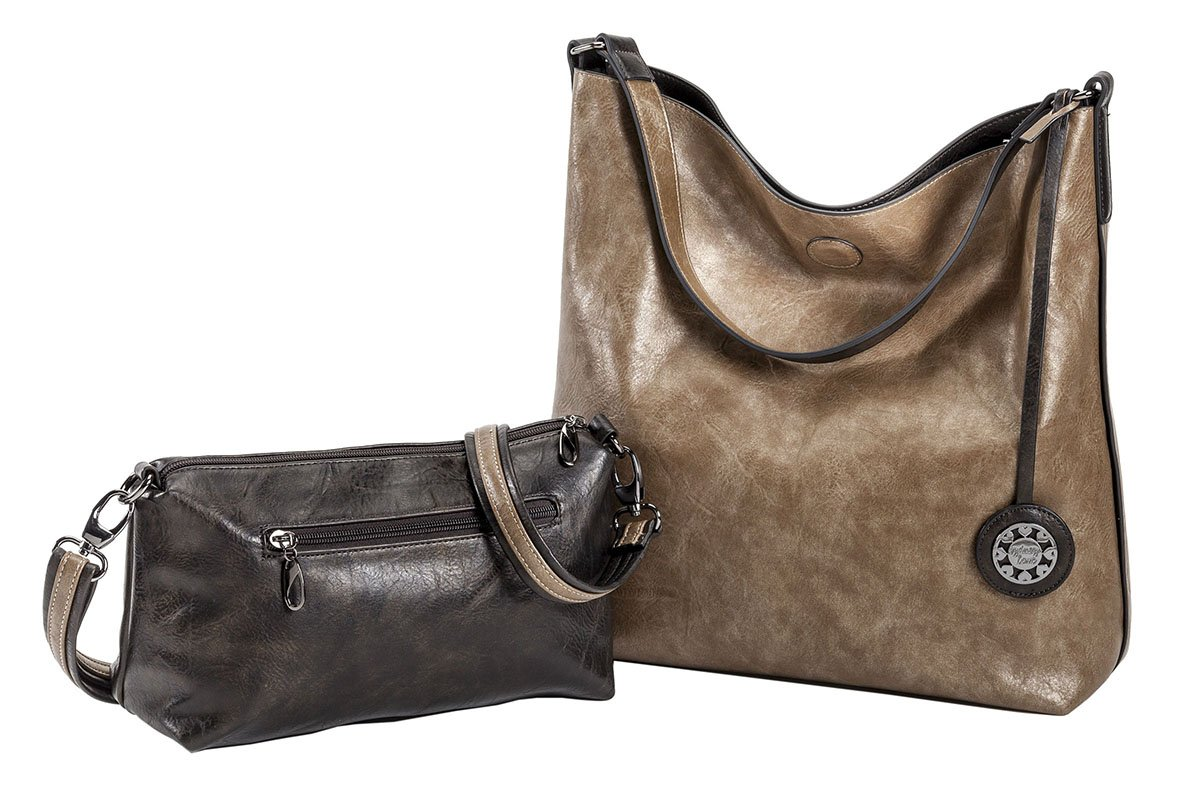Sydney Love Women's Reversible Hobo with Additional Cross Body Pouch, Olive/Bronze, Medium