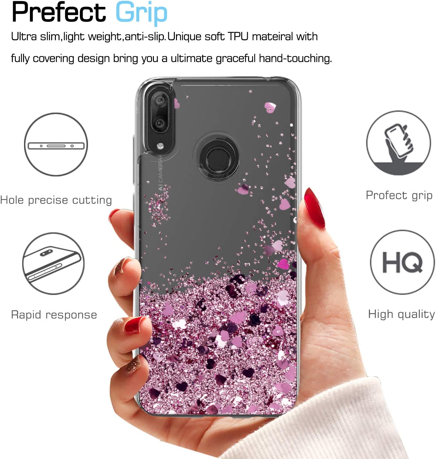 Kompatibel mit Huawei Y7 2019 H/ülle Glitzer Marmor Handyh/ülle Diamant Ring St/änder,Gl/änzend Strass Transparent Silikon H/ülle Sto/ßfest TPU Schutzh/ülle Bumper Case Tasche f/ür Huawei Y7 2019,Gr/ün