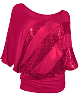 a2ee9b91d24 Glistening Sequin Cocktail Club Party Top Shimmer Glam Glitter Plus Size T- Shirt (XXXL