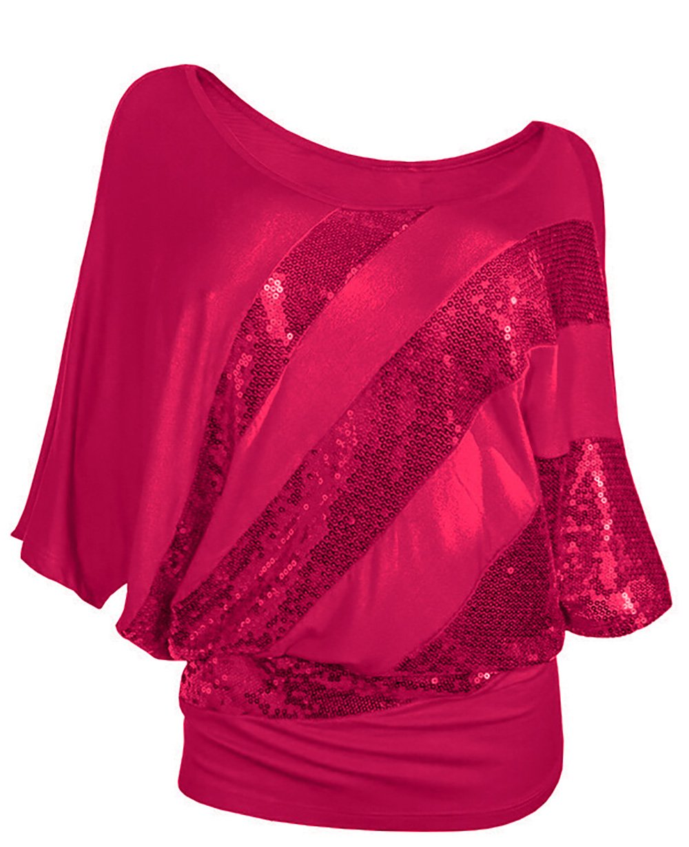 Glistening Sequin Cocktail Club Party Top Shimmer Glam Glitter Plus Size T-Shirt (XXXL, Red)
