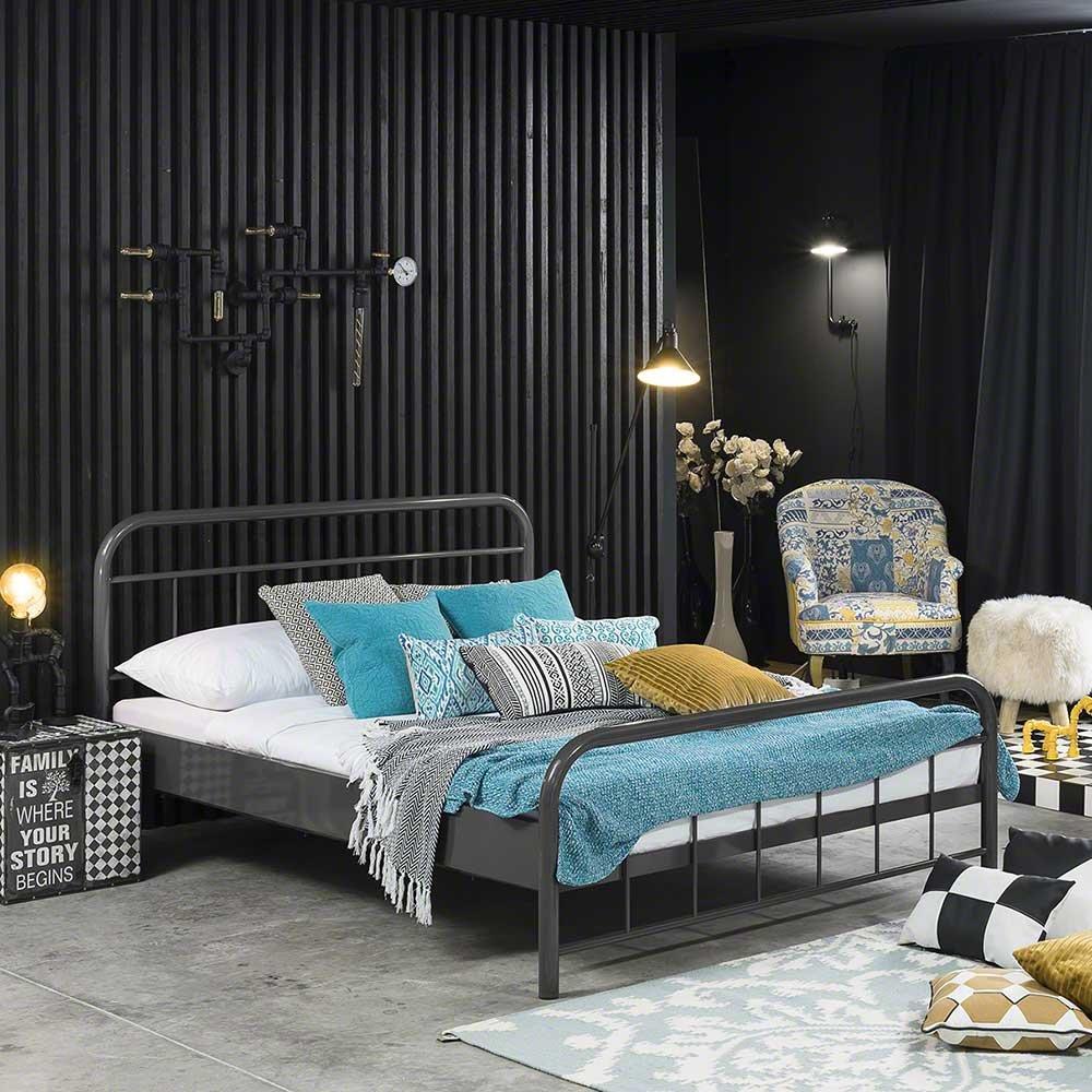Pharao24 Bett in Grau Eisen Breite 129 cm Tiefe 210 cm Liegefläche 120x200 Stütz-Steg