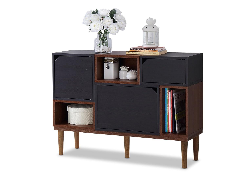 Amazon com baxton furniture studios anderson mid century retro modern oak and wood sideboard storage espresso kitchen dining