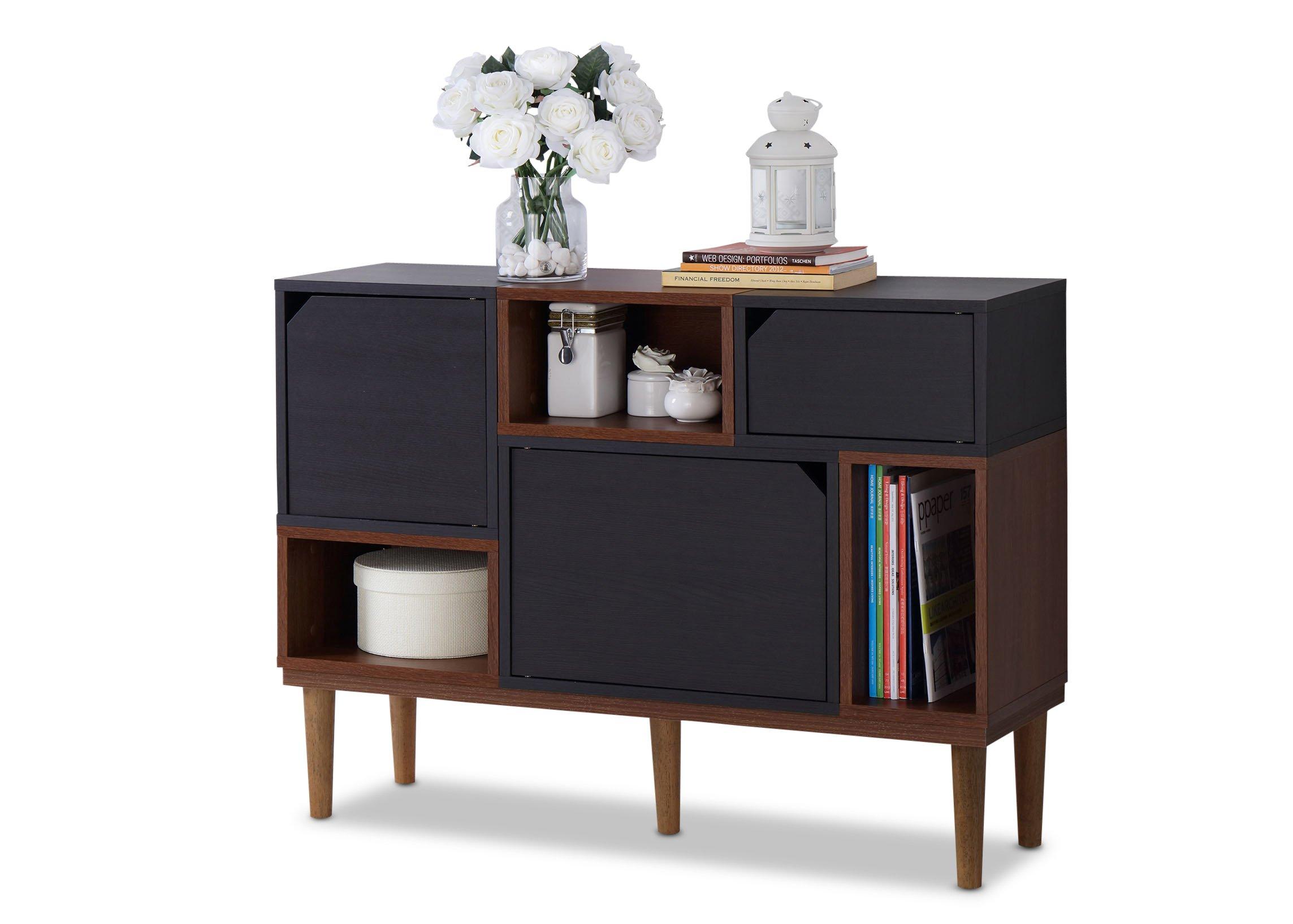Baxton Furniture Studios Anderson Mid-Century Retro Modern Oak and Wood Sideboard Storage, Espresso by Baxton Studio