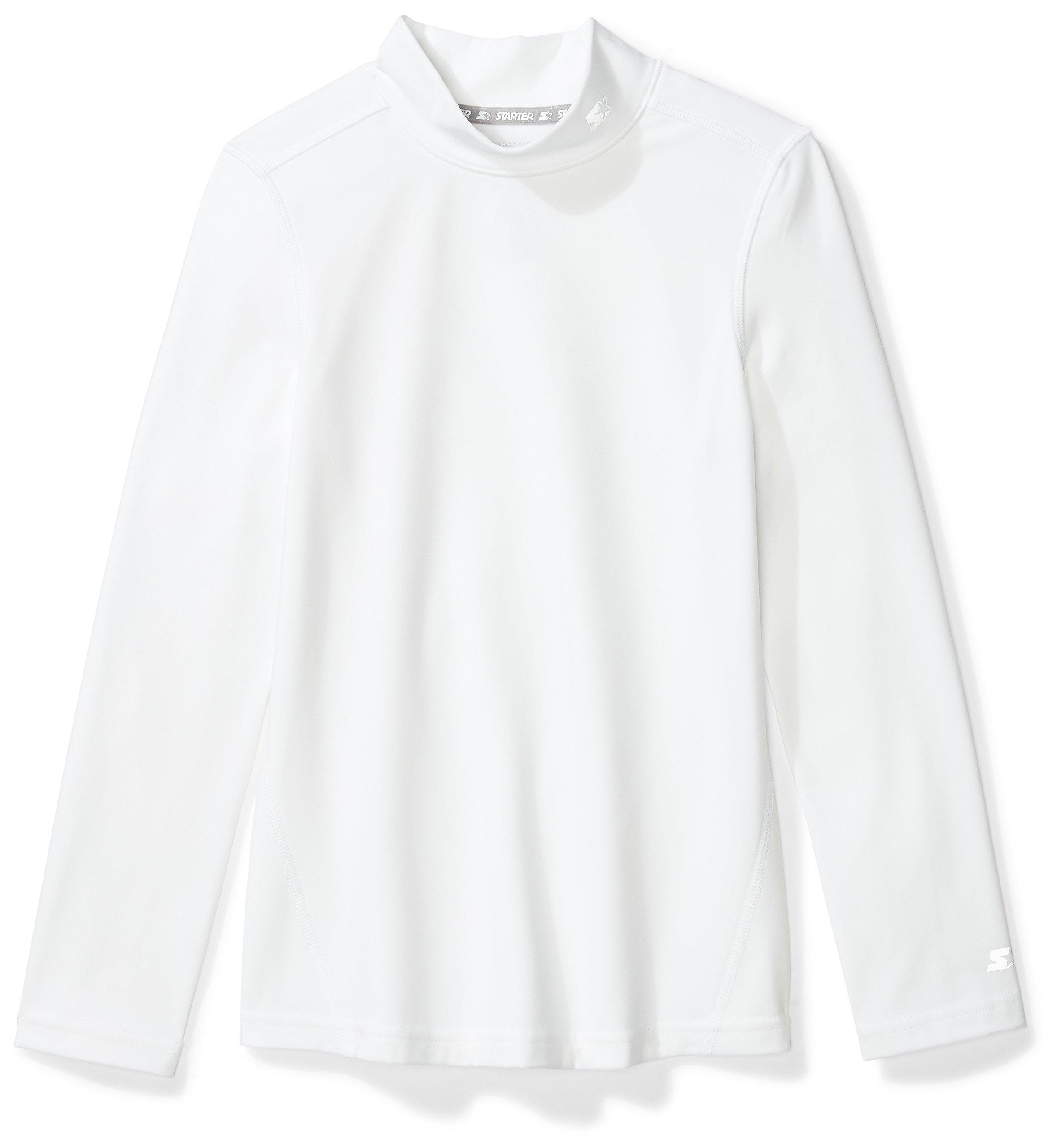 Starter Girls' Long Sleeve Mock Neck Athletic Light-Compression T-Shirt, Prime Exclusive, White, L (10/12)