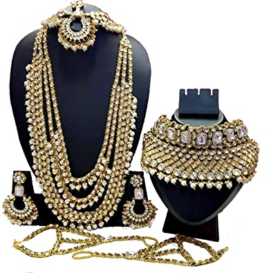 1d70e2230 Buy Fashion Empire Heavy Two Full Bridal Set Dulhan Wedding & Engagement  Jewelry Set in Golden Color with Heavy Mangteeka for Girls & Women Online  at Low ...