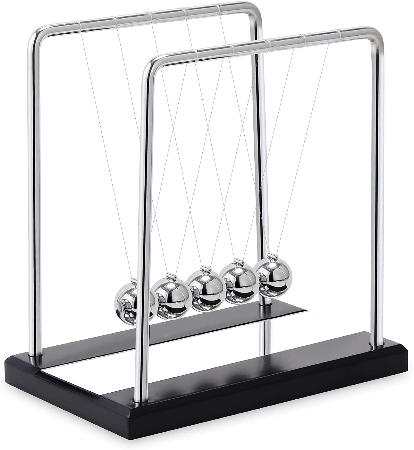 AXINMIAO Newtons Cradle Balance Balls with Mirror Black Wooden Base Fun Science Physics Learning Desk Toys Fun Gadget 5 Pendulum Balls for Office and Home Decoration - Large Mirror Black