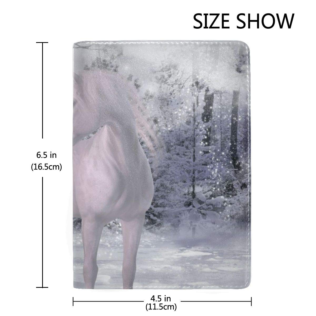 Snow Unicorn Fairy Forest Fantasy Mysterious Creatures Fashion Leather Passport Holder Cover Case Travel Wallet 6.5 In