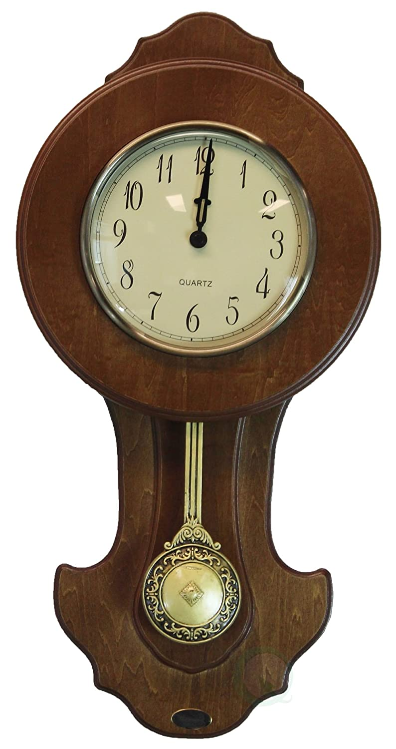 Uniquewise QI003195 Transitional Pendulum Wall Clock Solid Wood Walnut Finish, 10 in. W x 3 in. D x 20 in.H,