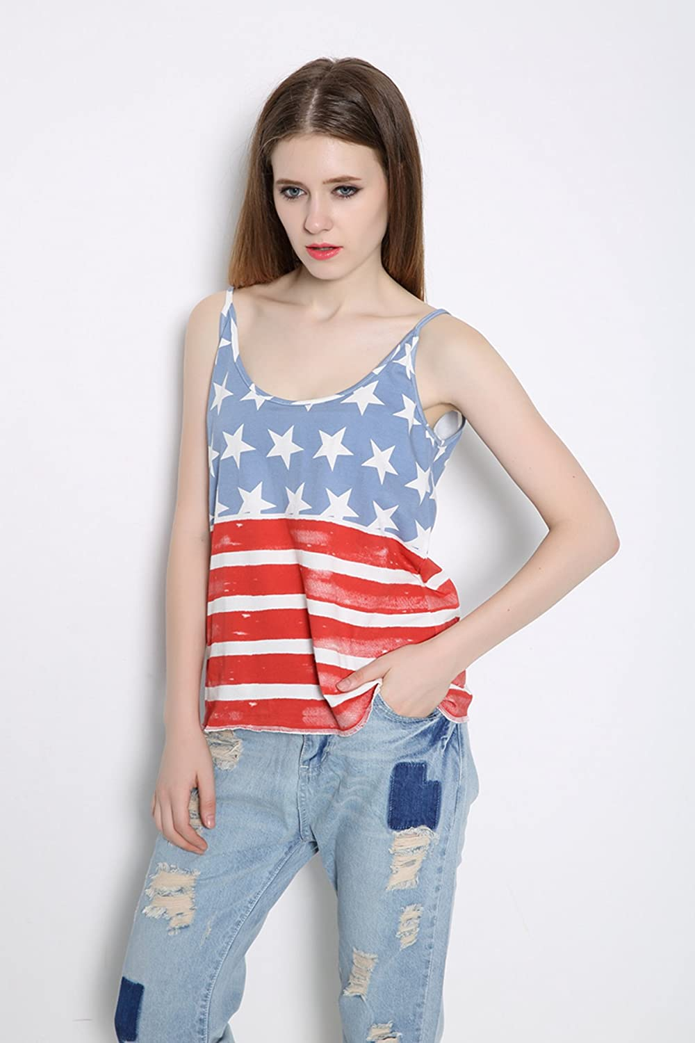 9b33cd71e666fc REINDEAR Fashion Women Patriotic American Flag Print Lace Camisole Tank Top  US Seller at Amazon Women s Clothing store