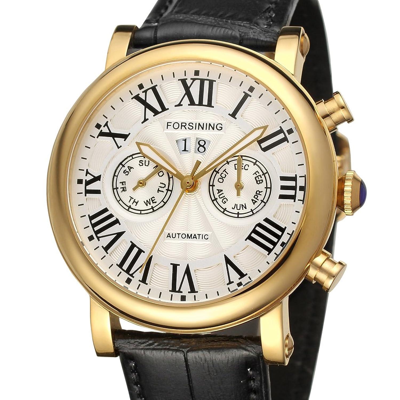 FORSININGメンズ高級ブランド日カレンダー自動ステンレススチールケースレザーストラップ腕時計fsg9407 m3g1 B010FJOZ74