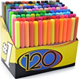 Color Markers Set - (SET OF 120 UNIQUE & VIBRANT COLORS) - Completely Washable - Fine Bullet Felt Tip - Pen Size Barrel - Perfect for Adult Coloring, School Projects, Doodling, & More!