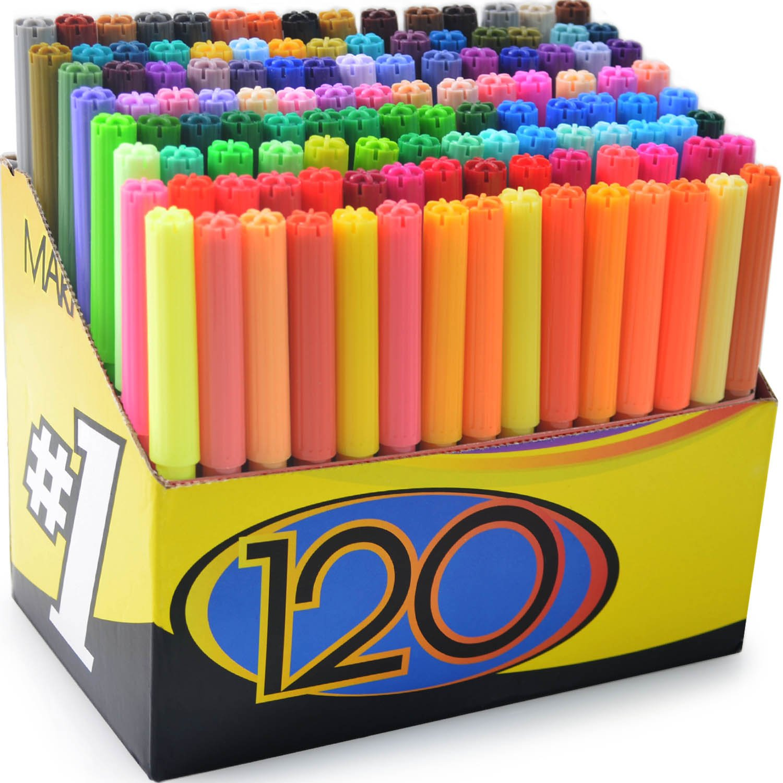 color markers set set of 120 unique vibrant colors completely washable fine bullet felt tip pen size barrel perfect for adult coloring