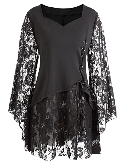 880b0646028 Amazon.com: Fenxxxl Women's Plus Size Vintage Halloween Costumes Bell  Sleeves Lace Pin Up Blouse Victorian Gothic Shirt F3 Black 3XL: Clothing