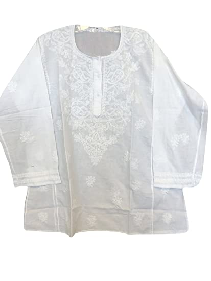 a1d786102c2 Women Tunic Top Ivory Floral Hand Embroidered Casual Cotton Blouse Resort  Coverup Summer Shirt Coverup Tunics. Roll over image to zoom in. Mogul  Interior