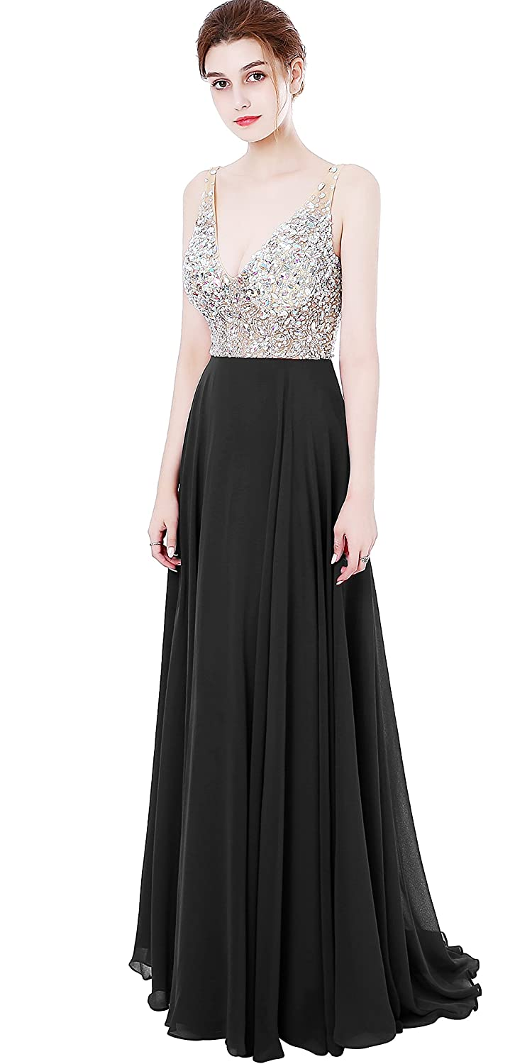 acde3c1c89f1 Amazon.com: MEILISAY Meilishuo Women's Jewelry Deep V-Neck Beaded Chiffon  Prom Dress Long Evening Gown for Party LF013: Clothing
