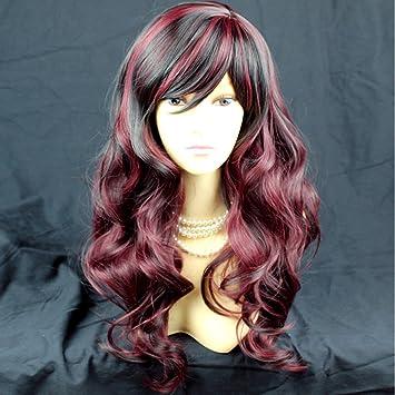 Wiwigs Peluca Ondulada para Mujer, Color Negro y Rojo borgoña, de la Marca