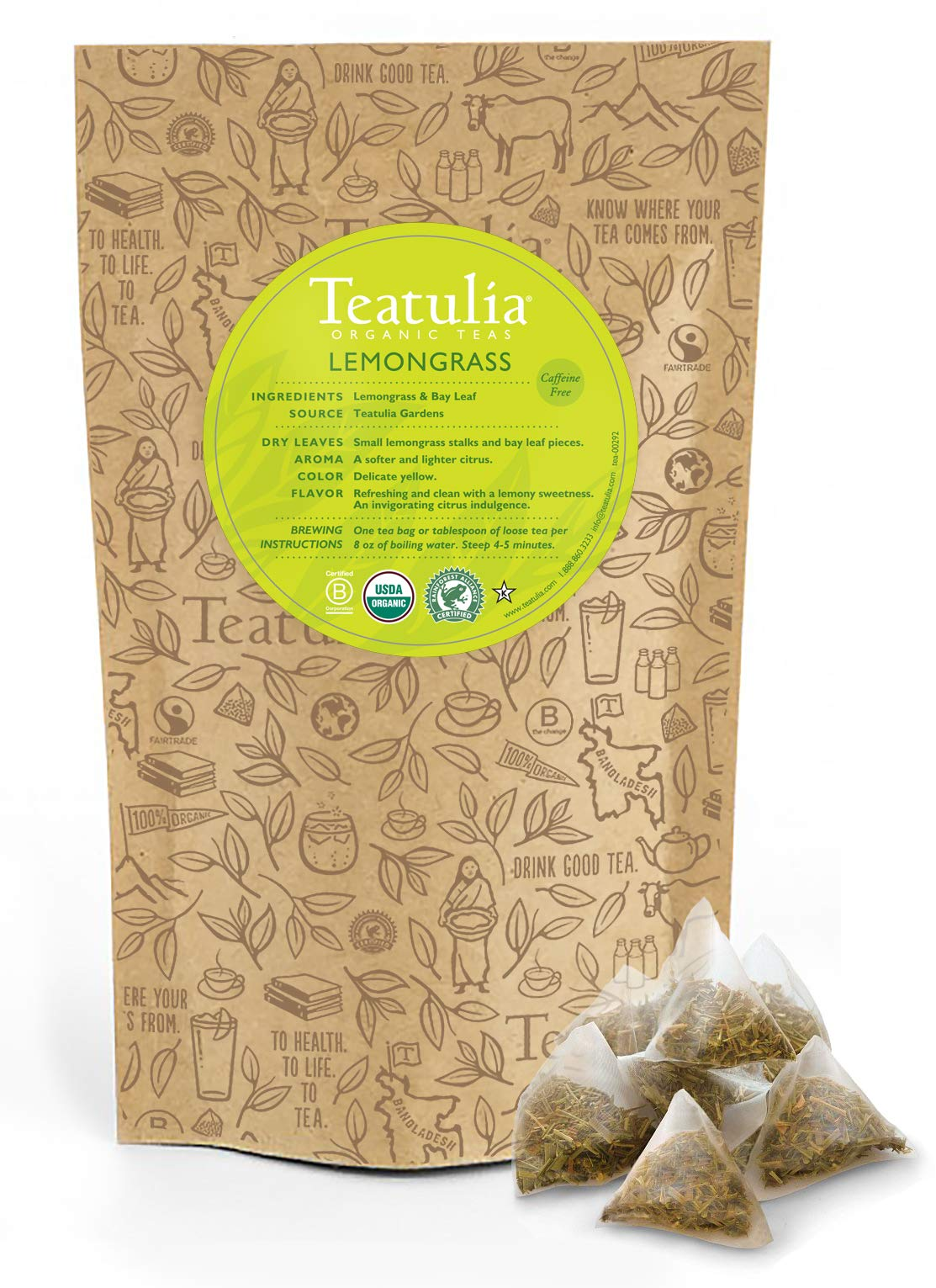 Teatulia Organic Lemongrass Herbal Tea 50ct Premium Pyramid Tea Bags - Caffeine Free - Brew Hot or Cold Compostable Corn-Silk Bags