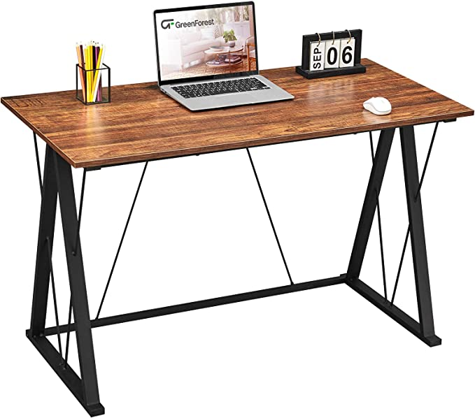 """GreenForest Small Computer Desk, 39"""" Home Office Desk with Triangle Legs Simple Writing Study Table Laptop Pc Workstation for Students Workers, Walnut   Amazon"""