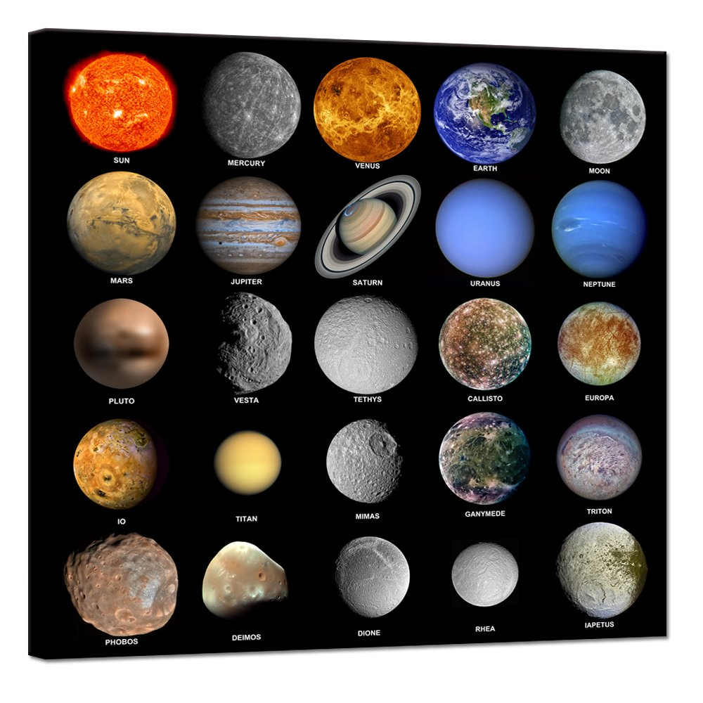 Visual Art Decor Planets Educational Solar System Space Wall Art Decor Canvas Prints Framed and Stretched Wall Art for Kid's Room School Classroom (Space Planets)
