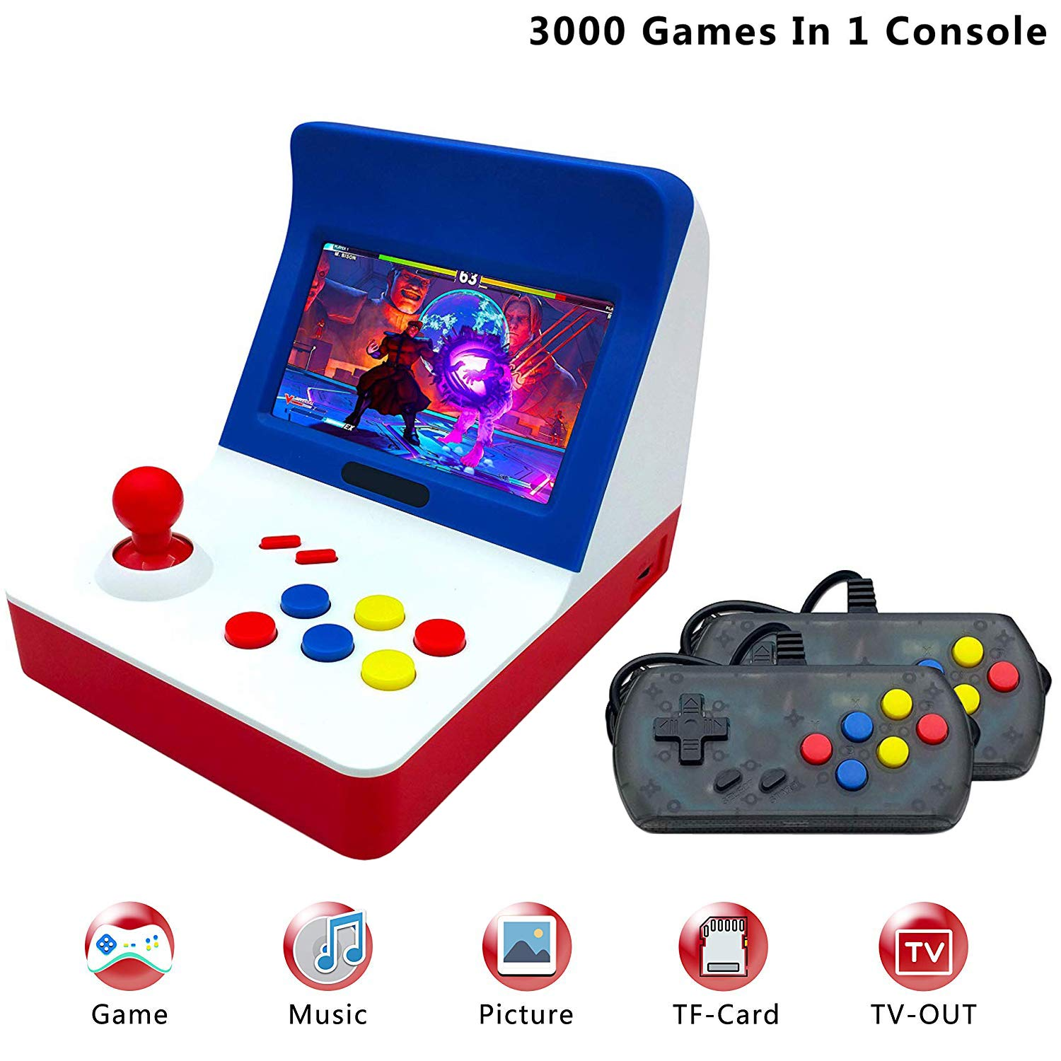 FLYFISH Retro Game Console , Handheld Game Console 4.3 Inch 3000 Classic Game Player , TV Output Portable Video Game Console with 2PCS Joystick (64 Bit Operate System,2200mAh )(Blue)
