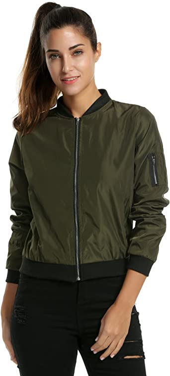 Zeagoo Womens Classic Quilted Jacket Short Bomber Jacket Coat At