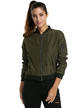 4c72fe3b Zeagoo Womens Classic Quilted Jacket Short Bomber Jacket Coat, # Army  Green, Small