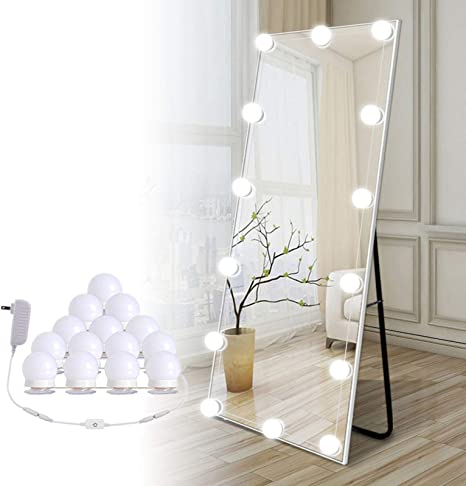 Amazon Com Hollywood Led Vanity Lights Strip Kit With 14 Dimmable Light Bulbs For Full Body Length Mirror And Bathroom Wall Mirror Plug In Mirror Lights With Power Supply White No Mirror Included