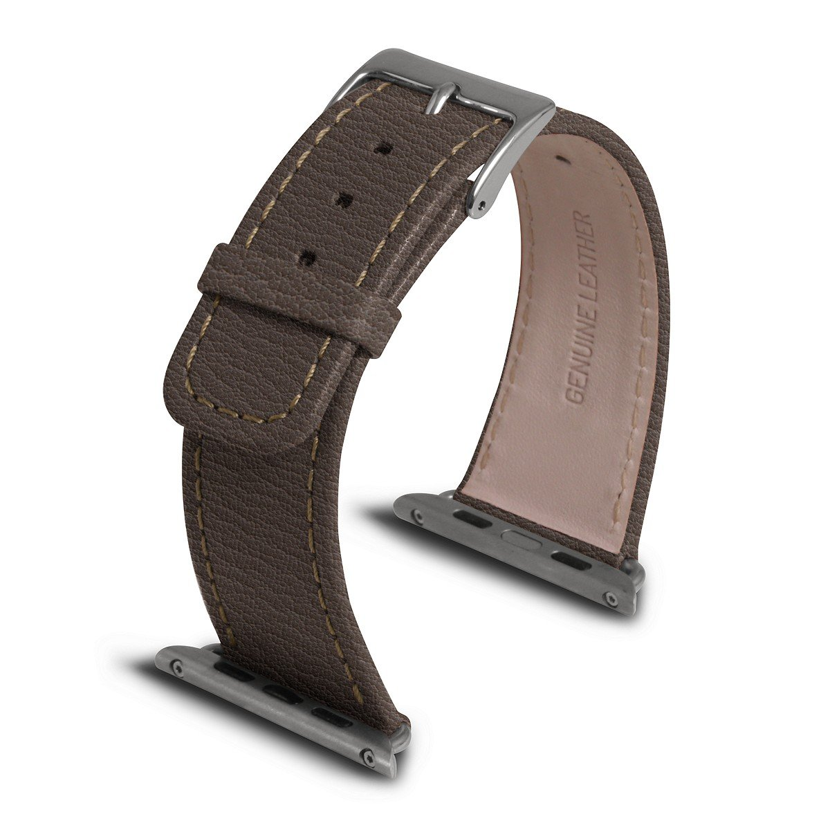 Lucrin - Apple Watch Band 42 mm - Dark Taupe - Goat Leather by Lucrin