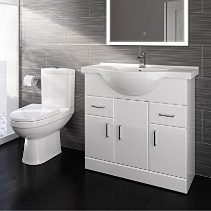 Wash Stands & Vanity Units Bathroom Ceramic Suite Vanity Sink Unit Soft Close Doors Close Coupled Toilet Set