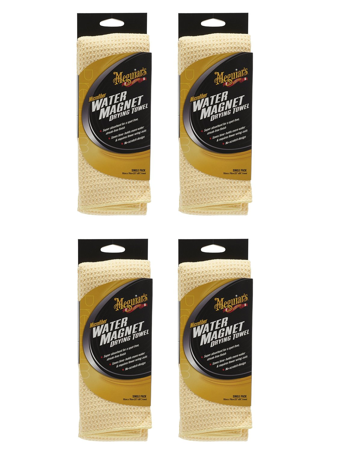 Meguiars X2000 Water NPxZu Magnet Microfiber Drying Towel, 22'' x 30'' (4 Pack)