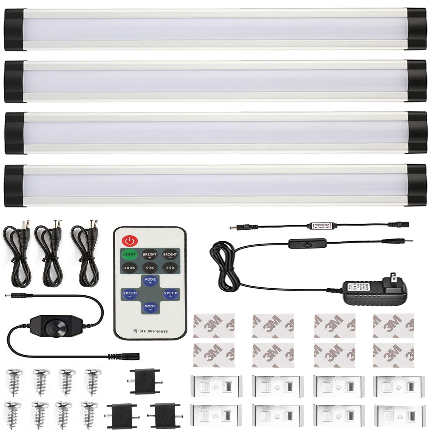 HuaXinV 12in IR Cordless Dimming LED Under Cabinet Lighting, 12W 3000K Warnwhite 1000LM, Milk Cover Led Strips,11key Remote Control (Warm White 4P) with 3M tape