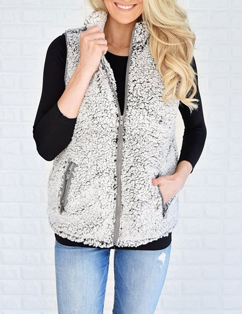 MEROKEETY Women's Casual Sherpa Fleece Lightweight Fall Warm Zipper Vest Pockets by MEROKEETY (Image #5)