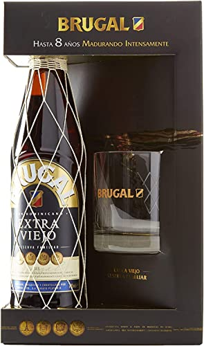 Brugal Extra Viejo Ron Dominicano, 38% + Estuche Vaso bajo - 700 ml