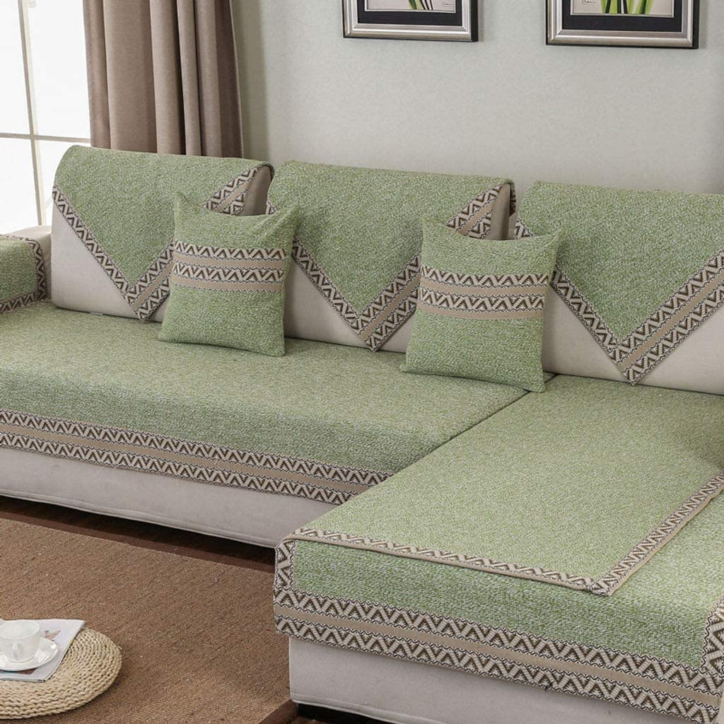 MO&SU Cotton and Linen Sofa Cover, Furniture Protector Non-Slip Stain Resistant Sofa Slipcover for Living Room Sectional Couch L-Shaped Sofa-green-90x120cm(35x47inch)