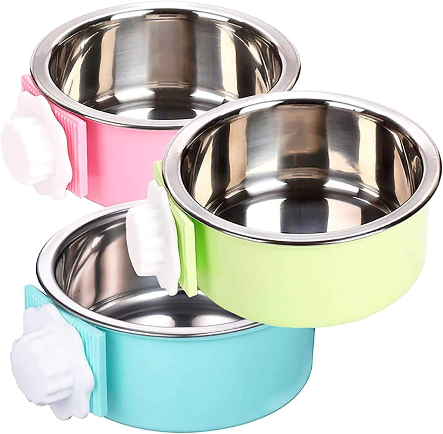 Crate Dog Water Food Bowls, Removable Hanging Stainless Steel Dog Bowls, 2-in-1 Plastic & Stainless Steel Pet Bowl, Crate Bowl for Cat, Dog,Puppy, Birds, Guinea Pigs,Rabbits and Other Small Pets.
