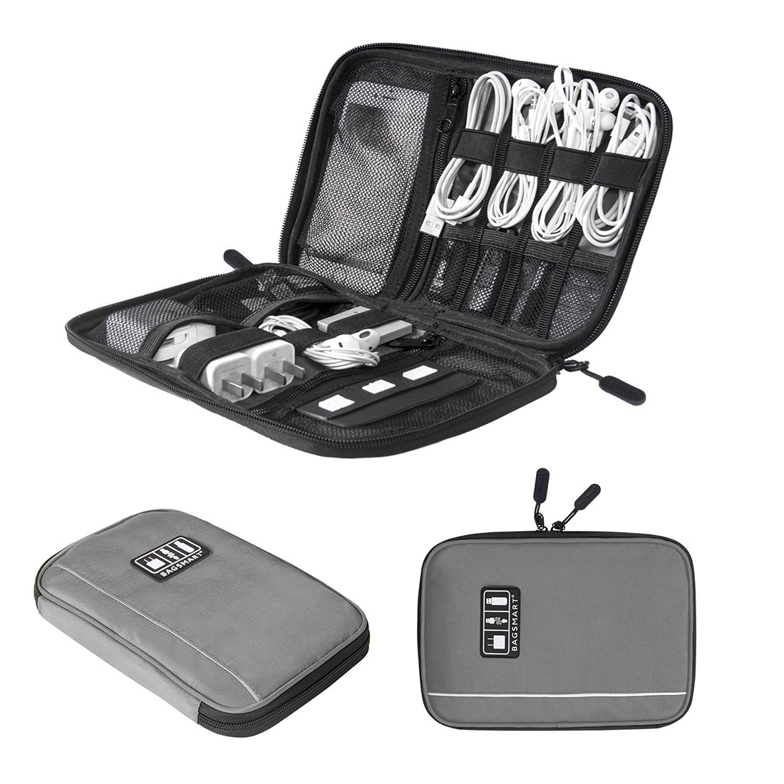 Travel Universal Cable Organizer Electronics Accessories Cases For Various USB, Phone, Charger and Cable, Grey