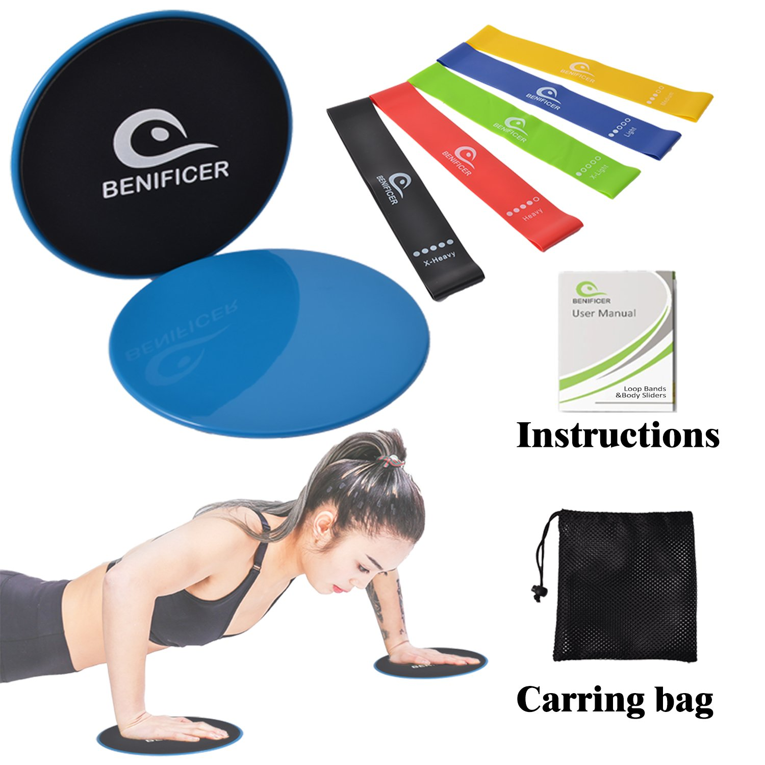 Benificer Core Sliders and Resistance Bands, Set of 5 Exercise Loop Bands with Set of 2 Double-sided Gliding Discs Workout for Fitness Home GYM Yoga,Pilates,Crossfit with Carry Bag and Instruction by Benificer (Image #1)